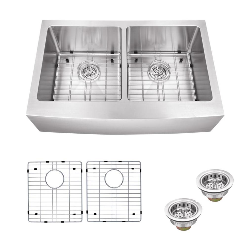 Schon All-in-One Farmhouse Apron Front Stainless steel 33 in. Double Bowl Kitchen Sink, Brushed Satin was $473.4 now $339.0 (28.0% off)