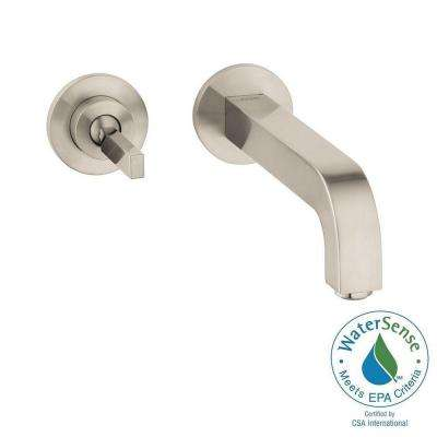 Citterio Single-Handle Wall Mount Bathroom Faucet with Low-Arc in Brushed Nickel