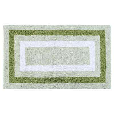 Race Track 50 in. x 30 in. Cotton Sage Green Reversible Machine Washable Bath Rug