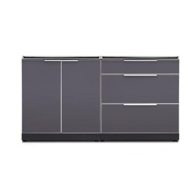 Slate Gray 2-Piece 64 in. W x 36.5 in. H x 24 in. D Outdoor Kitchen Cabinet Set without Countertop