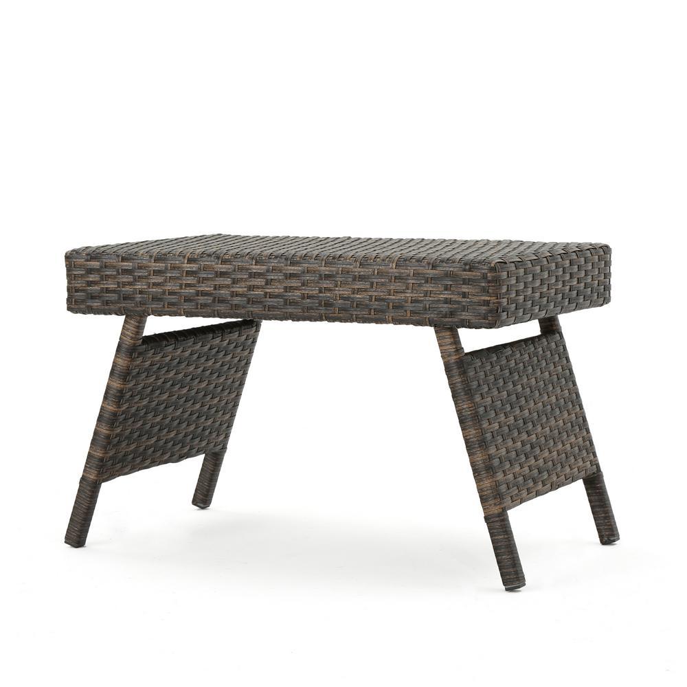 Aaron Mix Mocha Folding Wicker Outdoor Side Table