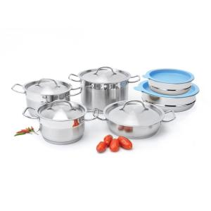 Click here to buy BergHOFF Hotel 12-Piece 18/10 Stainless Steel Cookware Set with Mixing Bowls by BergHOFF.