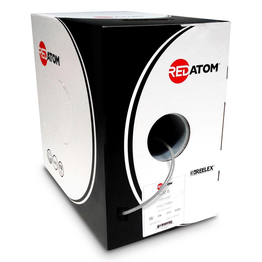 Cat6 1000 ft. 23 AWG 4-Pair UTP Red Atom, Gray