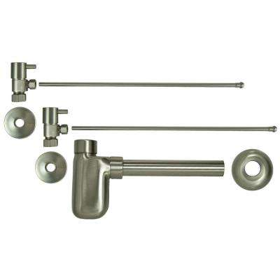 3/8 in. x 20 in. Brass Lavatory Supply Lines with Lever Handle Shutoff Valves and Decorative Trap in Brushed Nickel