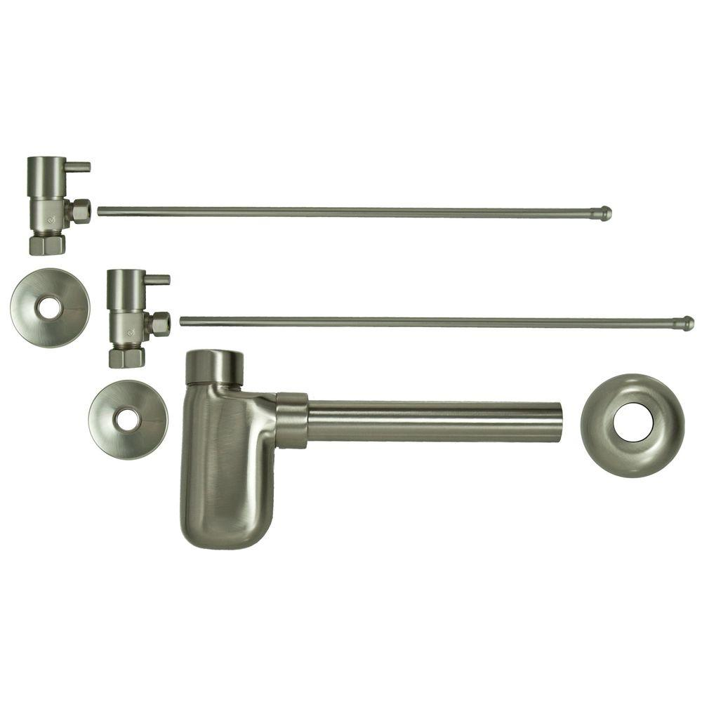 null 3/8 in. x 20 in. Brass Lavatory Supply Lines with Lever Handle Shutoff Valves and Decorative Trap in Brushed Nickel