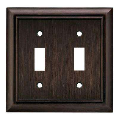 Architectural Decorative Double Switch Plate, Venetian Bronze