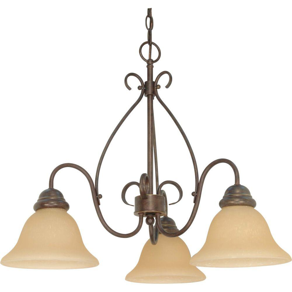 Glomar 3-Light Bronze Chandelier with Champagne Linen Washed Glass Shade