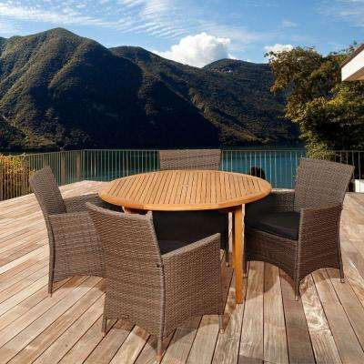 Downey 5-Piece Teak Round Patio Dining Set with Grey Cushions