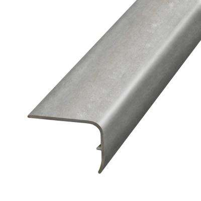 Striated Stone Grey 1.32 in. Thick x 1.88 in. Wide x 78.7 in. Length Vinyl Stair Nose Molding