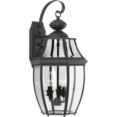 New Haven Collection 3-Light 21.9 in. Outdoor Black Wall Lantern Sconce
