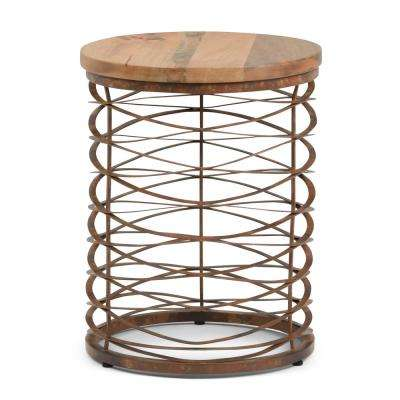 Miley Natural and Distressed Bronze Metal/Wood Accent Table