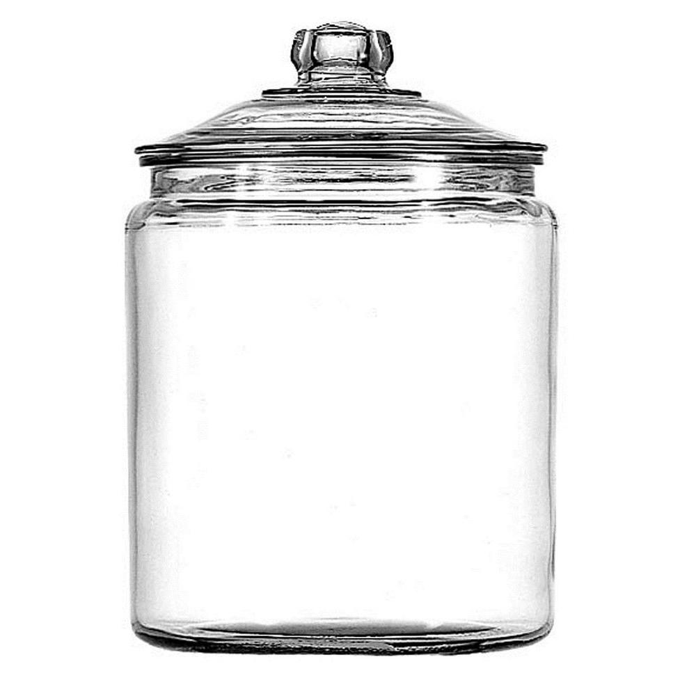 Anchor Hocking 1 gal. Heritage Hill Jar, Clear America's favorite classic jar. The Heritage Hill series by Anchor Hocking is a timeless piece that is useful in every room of the house or store. Great for storing cookies, sugar, flour and other kitchen staples (but is not completely air-tight). Color: Clear.