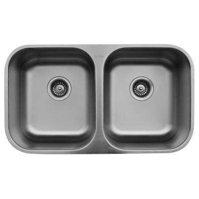 Undermount Stainless Steel 32 in. 0-Hole 50/50 Double Bowl Kitchen Sink