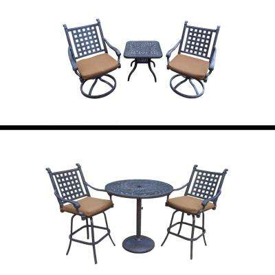 Belmont 6-Piece Aluminun Outdoor Bar Height Dining Set with Sunbrella Brown Cushions
