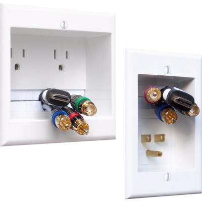 White 2-Gang Audio/Video Wall Plate
