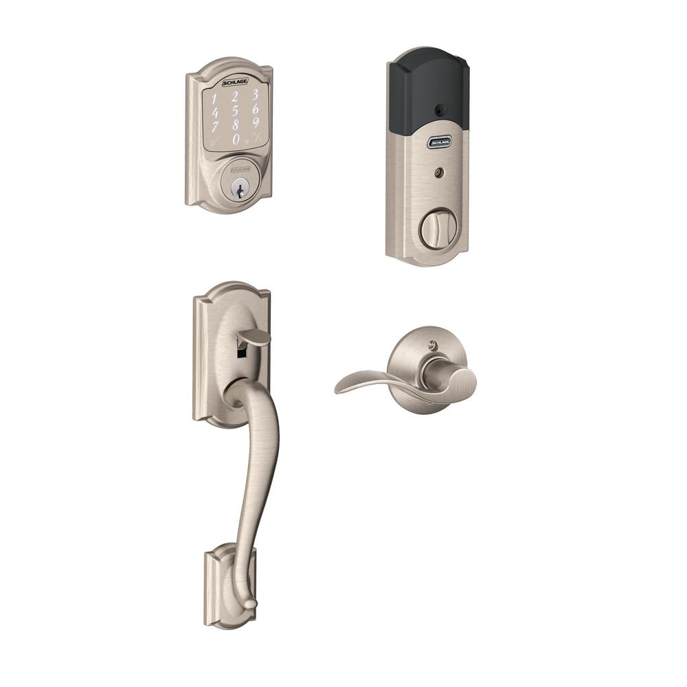 Schlage Camelot Satin Nickel Sense Smart Door Lock with Left Handed Accent Lever Door Handleset