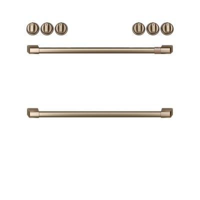 Front Control Gas Range Handle and Knob Kit in Brushed Bronze