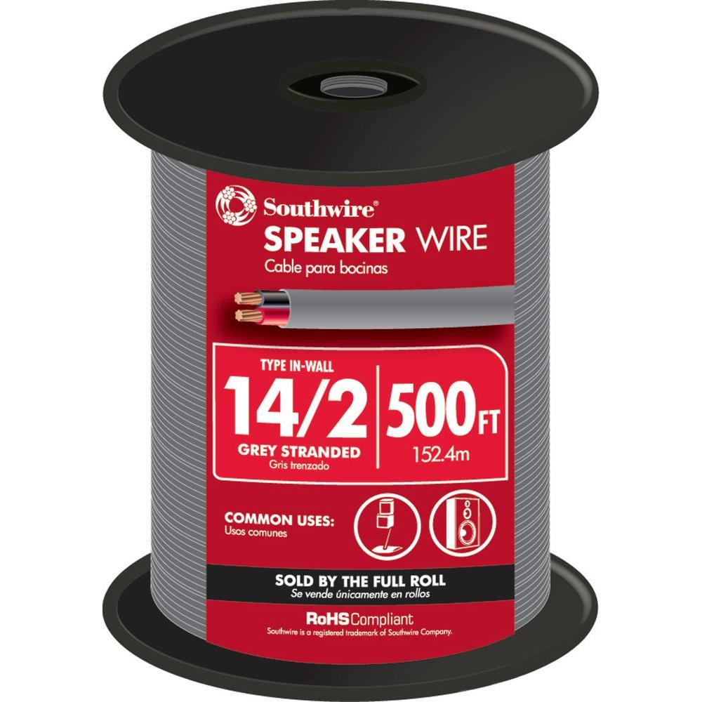 Speaker Wire The Home Depot Class 2 Audio Wiring 14 Grey Stranded Cu In Wall Cmr Cl3r