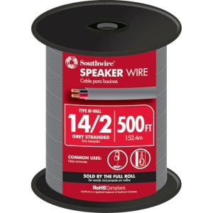 Southwire 500 ft. 14/2 Grey Stranded CU In-Wall CMR/CL3R Speaker Wire by Southwire
