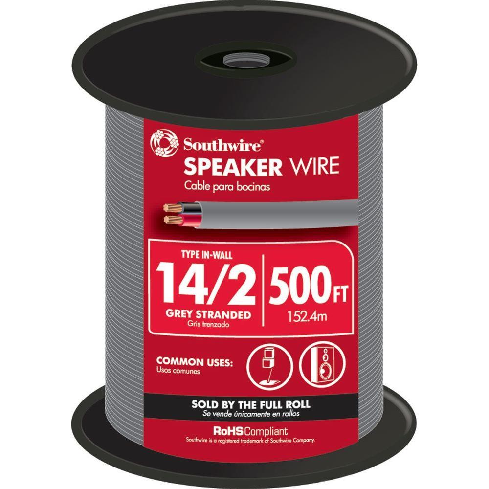 500 ft. 14/2 Grey Stranded CU In-Wall CMR/CL3R Speaker Wire