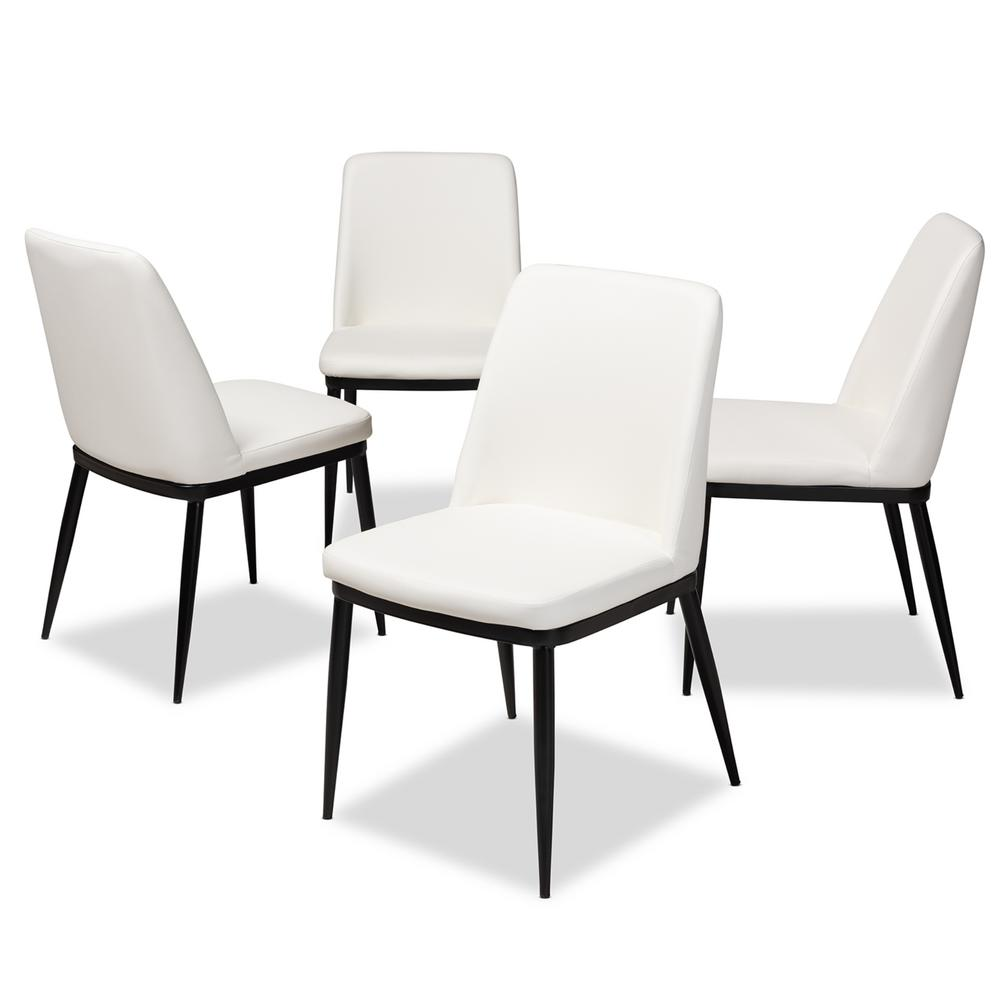 Baxton Studio Darcell White Faux Leather Upholstered Dining Chair Set Of 4