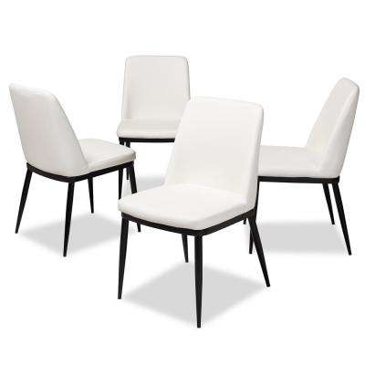 Darcell White Faux Leather Upholstered Dining Chair (Set of 4)