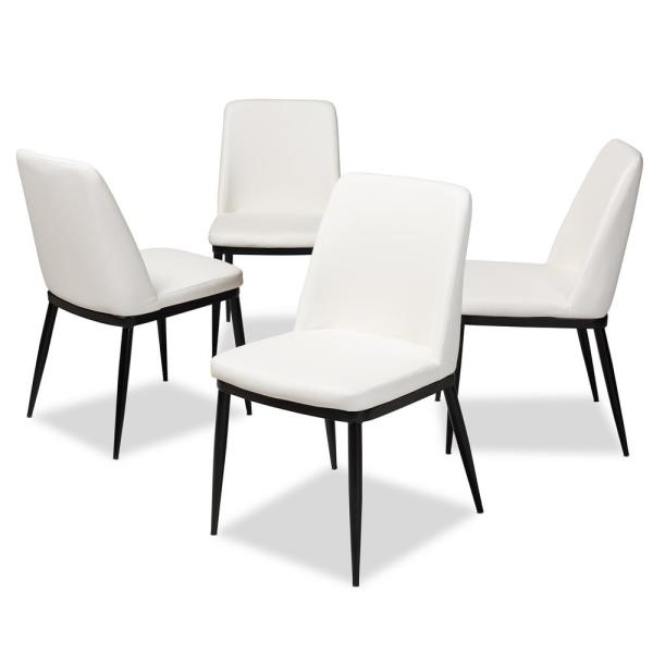 Dining Chairs Set Of 2 White Black Faux Leather Ultra: Baxton Studio Darcell White Faux Leather Upholstered