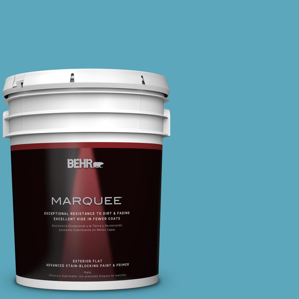 5 gal. #T15-11 Sonic Blue Flat Exterior Paint