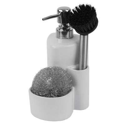 Soap Dispenser with Dual Compartment and Dish Brush in Black