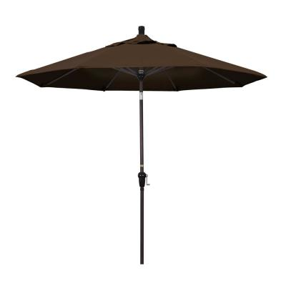 California Umbrella 9 ft. Aluminum Market Auto Tilt Bronze Patio Umbrella in Mocha Pacifica