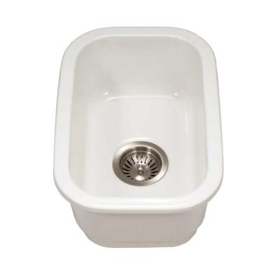 Platus Undermount Fireclay 13 in. Single Bowl Bar Sink in White with Rectangular Basin