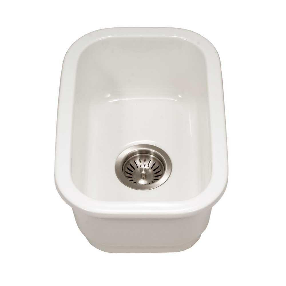 HOUZER Platus Undermount Fireclay 13 in. Single Bowl Bar Sink in White with Rectangular Basin