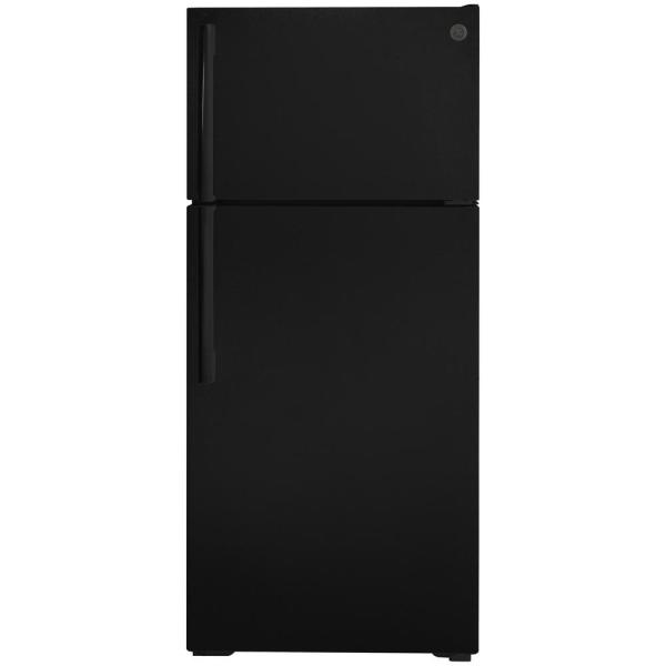 GE 16.6 cu. ft. Top Freezer Refrigerator in Black, ENERGY STAR