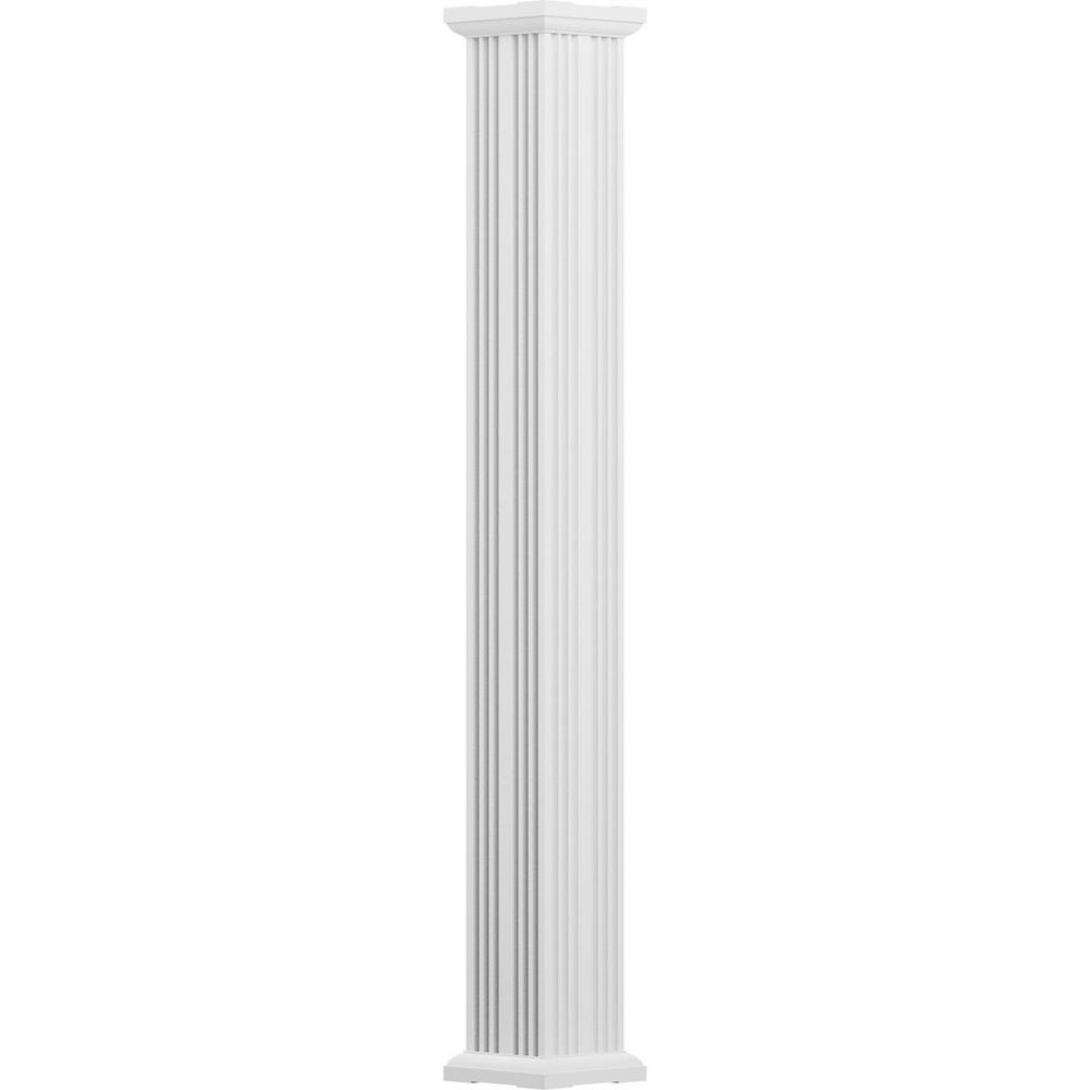 Ready For Paint w// Capital /& Base AFCO EA0608INFSPTUTU 6 x 8 Endura-Aluminum Column Primed Fluted Non-Tapered Square Shaft For Post Wrap Installation