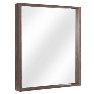 Shiri 26 in. W x 32 in. H Framed Wall Mirror in Walnut