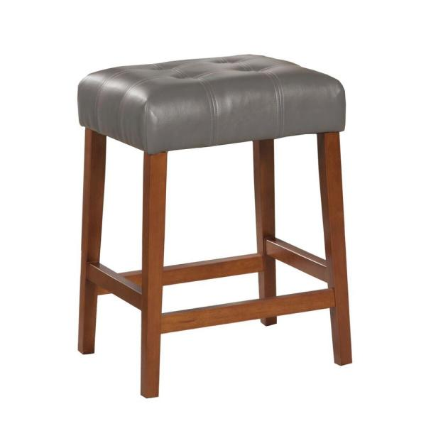 Homepop Faux Leather Square 24 in. Gray Bar Stool K4286-E844