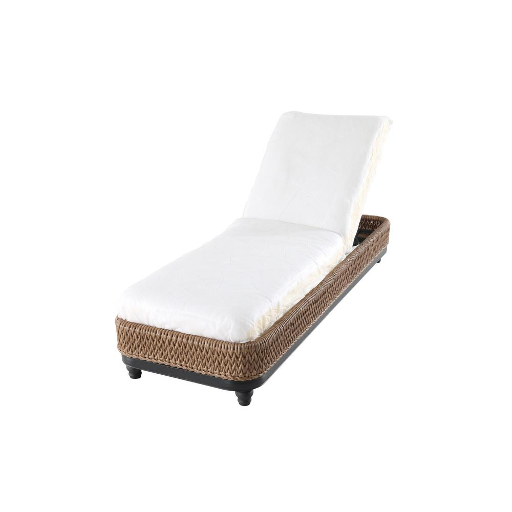 Home Decorators Collection Camden Light Brown Wicker Outdoor Chaise Lounge  With Cushion Inserts (Slipcovers Sold