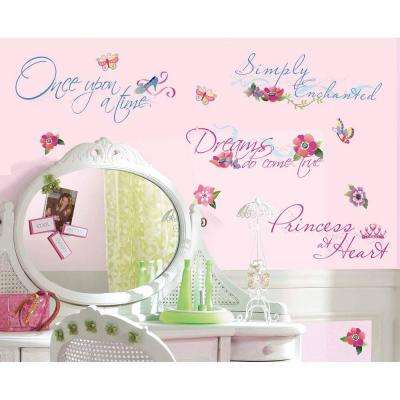 5 in. x 11.5 in. Disney Princess Quotes Peel and Stick Wall Decal (15-Piece)