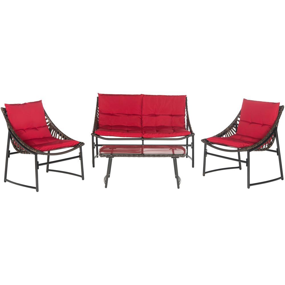 Berkane Brown 4-Piece Wicker Patio Conversation Set with Red Cushions
