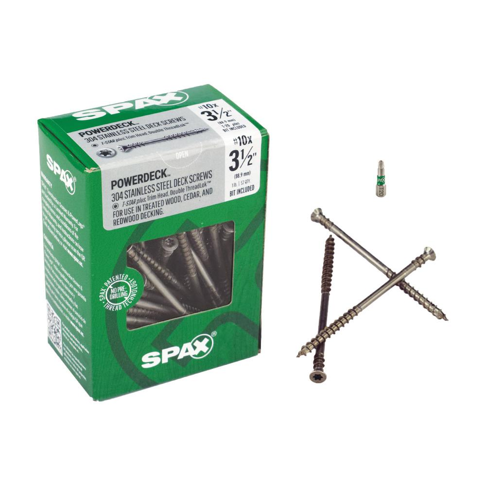 SPAX #10 x 3-1/2 in  T-Star Plus Drive Trim Head DoubleLok Thread Stainless  Steel Screw (57-Box)