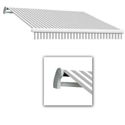 12 ft. Maui-LX Left Motor Retractable Acrylic Awning with Remote (120 in. Projection) in Grey/White