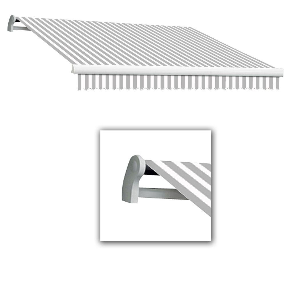 AWNTECH 18 ft. Maui-LX Left Motor Retractable Acrylic Awning with Remote (120 in. Projection) in Grey/White