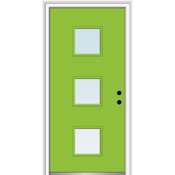 Mmi Door 30 In X 80 In Aveline Left Hand Inswing 3 Lite Clear Low E Glass Painted Steel Prehung Front Door On 6 9 16 In Frame Z0354128l The Home Depot