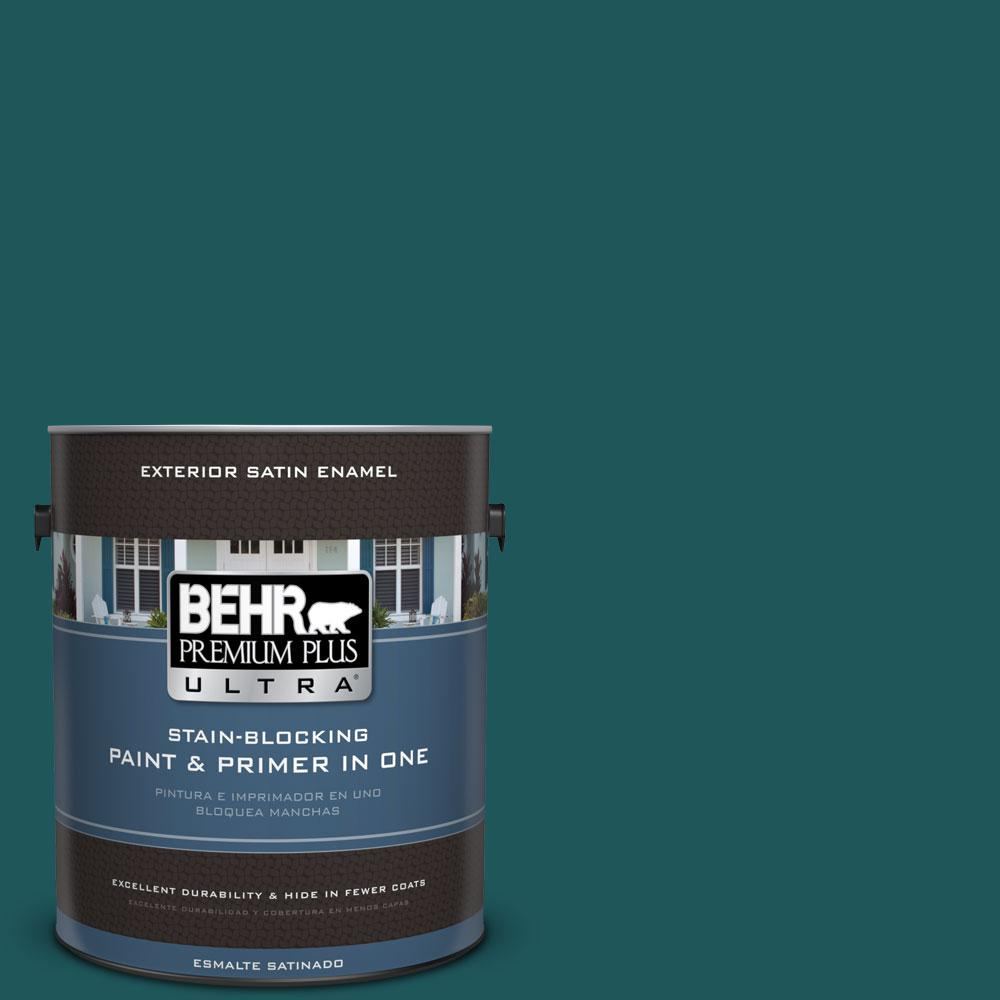 BEHR Premium Plus Ultra 1-gal. #PPF-56 Terrace Teal Satin Enamel Exterior Paint