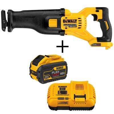FLEXVOLT 60-Volt MAX Cordless Brushless Reciprocating Saw (Tool-Only) with Bonus FLEXVOLT Battery Pack and Charger Kit