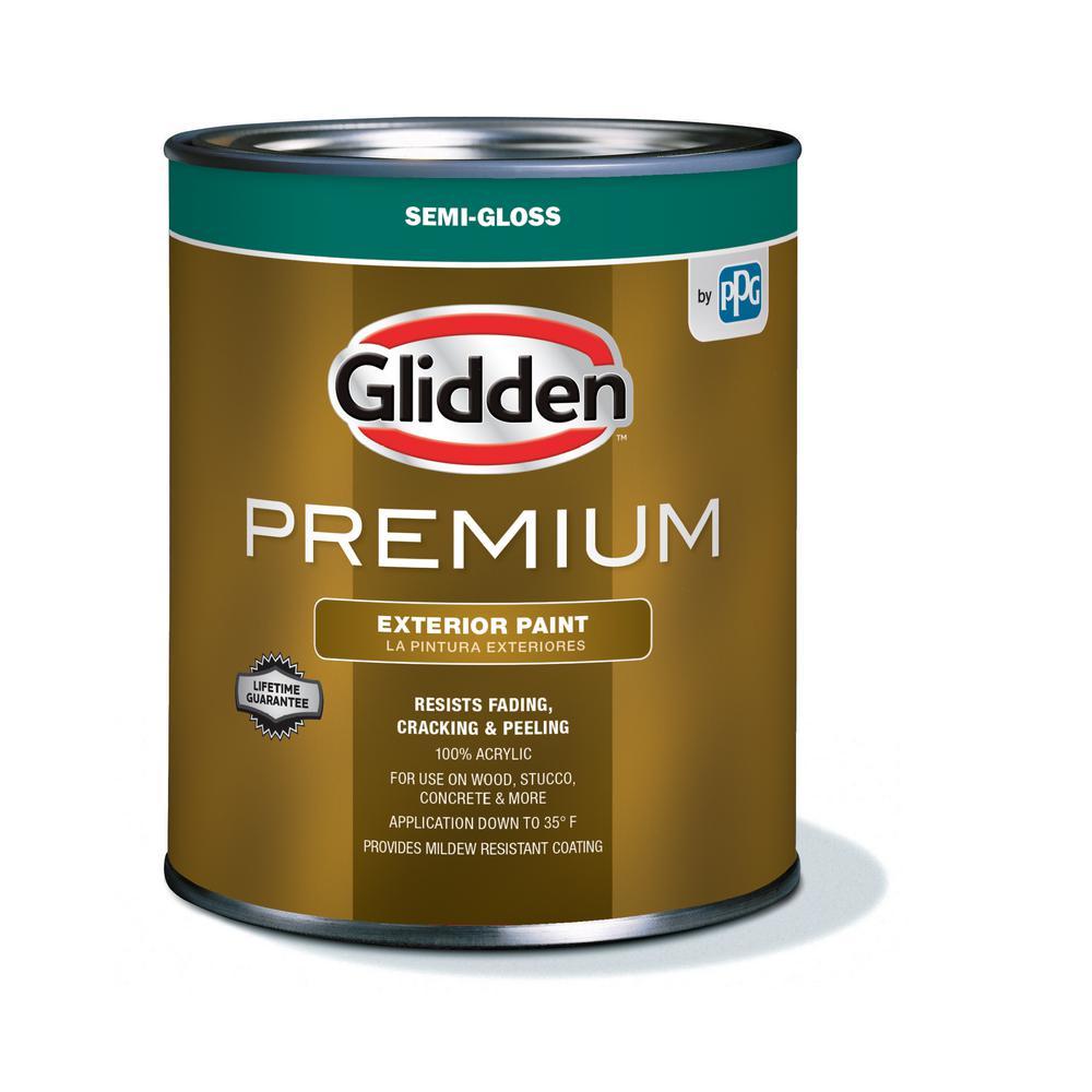 Glidden Pro At The Home Depot: Glidden Premium 1 Qt. Semi-Gloss Latex Exterior Paint