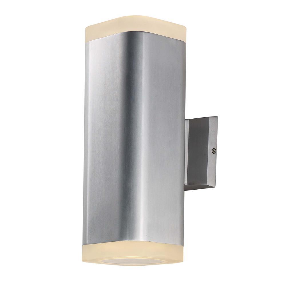 Maxim Lighting Lightray 2-Light Brushed Aluminum Outdoor Integrated LED Wall Lantern Sconce