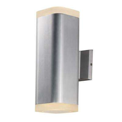 Lightray 2-Light Brushed Aluminum Outdoor Integrated LED Wall Lantern Sconce