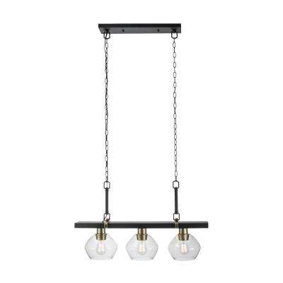 Harrow 3-Light Matte Black Linear Pendant Lighting with Gold Accent Sockets and Clear Glass Shades
