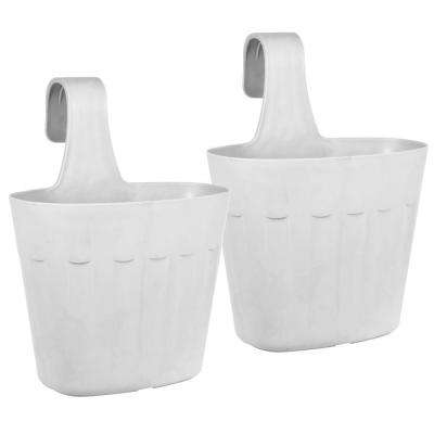 Mela 8.75 in. White Plastic Saddlebag Rail Planter (2-Pack)